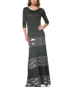Another great find on #zulily! Charcoal & Silver Chevron Maxi Dress by Celeste #zulilyfinds