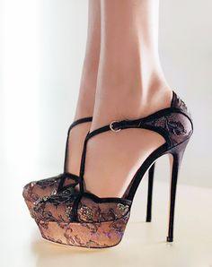 Valentino lace SWAROVSKI crystal high heels shoes