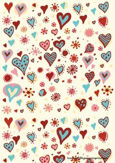 Corazones de colores en papel
