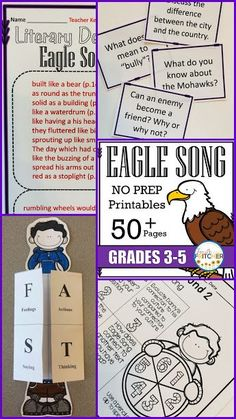 Eagle Song Complete Literature Study! Includes: vocabulary, character analysis, author's craft, comprehension, and written response.