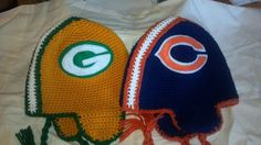 Packers and Bears Helmet ear flap hats...probably shouldn't have photographed the hats together as they are rival teams, but hey, there wasn't any explosions or implosions....lol!