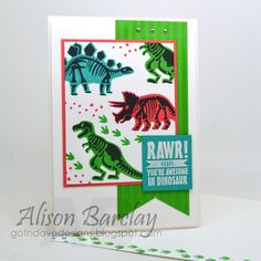 Gothdove Designs - Alison Barclay Stampin' Up! ® Australia : Stampin' Up! Australia - Stampin' Up! No Bones About It - The Card Concept Birthday Cards For Boys, Bday Cards, Handmade Birthday Cards, Birthday Kids, Monster Party, Kids Stamps, Dinosaur Cards, Scrapbooking, Stamping Up Cards