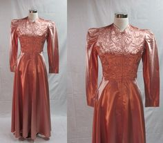 40s Pink Liquid Satin Dressing Gown / 1940s by livinvintageshop