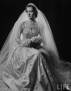 Franches Roche ( mother of Princess Diana of Wales),posing in gown for her wedding to Lord John Althorp.