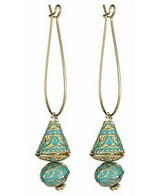 Taara Turquoise and Goldtone Drop Earrings by MAX & CHLOE.