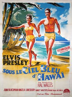 Blue Hawaii was released fifty years ago in November It was Elvis' seventh film and was his most commercially successful movie, in spite of a rather skimpy plot. Old Movies, Vintage Movies, Vintage Posters, Vintage Ads, Elvis Presley Blue Hawaii, Science Fiction, Elvis Presley Movies, Angela Lansbury, Internet Movies