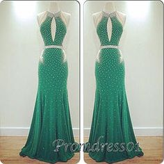 Green open back long slim A-line senior prom dress, prom gown, ball dress #prom2015 #promdress