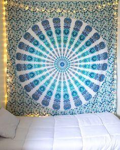 Emerald Ocean & Sparkly Gold Mandala Tapestry