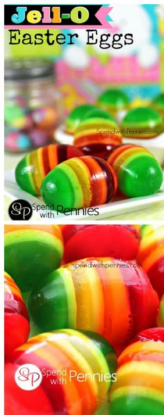 Striped Jell-O Easter Eggs - 14 Egg-Shaped Snacks for Easter | GleamItUp