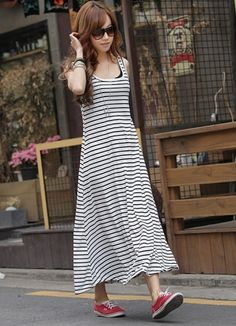 Sleeveless Contrasting Color Stripes Dress on BuyTrends.com, only price $9.50