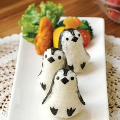 Penguin rice ball mould and nori cutter set from the Eats Amazing UK Bento Shop - perfect for healthy and fun kids meals lunch boxes and snacks - fun and easy homemade sushi idea