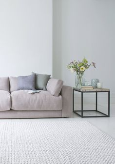 Loaf's deep filled Atticus sofa upholstered in a soft Putty pink