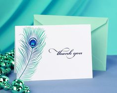 Peacock Feather Wedding Bridal Shower Thank You Cards w/ Envelopes Pack of 50 in Home & Garden | eBay