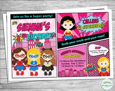 Girl Superhero Personalized Invitation, Girl Super Hero Invite, Custom, Digital, Printable, Birthday Party, 1st Birthday, Comic Book, Pink by RainbowLaneDesigns on Etsy