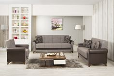 Starlight Sofa Set in Quantro Brown by Casamode