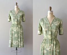 1940s dress / vintage 40s dress / Island Fronds by DearGolden, $188.00