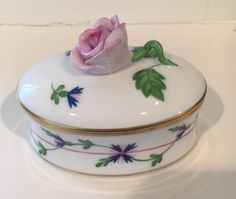 Herend-Porcelain-Trinket-Box-With-Rose-Hungary