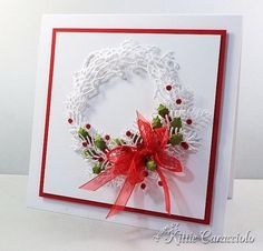 White on White Christmas Wreath by kittie747 - Cards and Paper Crafts at Splitcoaststampers