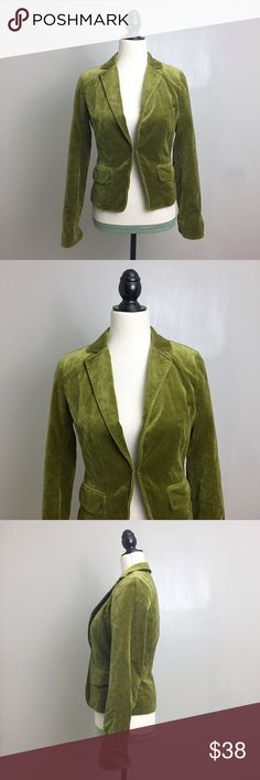 """J. Crew Green Velvet Ecole Fitted Blazer Jacket J. Crew. Size 2. Velvet Ecole Blazer in Olive Green. With a fitted silhouette and a certain schoolboyish charm, this tailored little blazer is the """"it"""" piece of the season—layer it, belt it or wear it open. The fabric is the gold standard of cotton velvet. Long Sleeve. Notched collar. Hook and latch closure. Fully lined. All garments are shown on a size Medium woman's dress form. All measurements are taken unstretched; Pit to pit-       17""""…"""