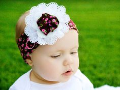Brown and Pink Head Wrap: Brown and Pink Floral Stretch Knit Head Wrap with Lace Flower on Etsy, $12.00