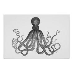 Kraken - Black Giant Octopus / Cthulu Print