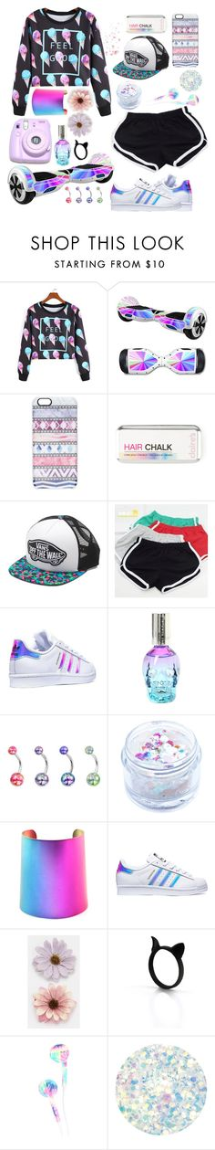 """""""rainbow!"""" by valeboh ❤ liked on Polyvore featuring Casetify, Vans, MITU, adidas, In Your Dreams, Polaroid, ASOS and Deborah Lippmann"""