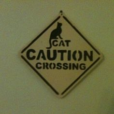 Wooden handmade cat crossing wall hanging by Fine Crafts on Opensky