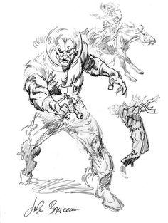 JOHN BUSCEMA SPACE COWBOY MARTIAN WESTERN lost sketches Comic Art