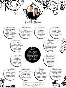 Plan de tables de mariage original placement thème noir et blanc argent volutes baroque blanc romantique
