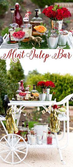 Style a Mint Julep Bar for the Kentucky Derby! #derby #party #mintjulep Man Cave Bar, Kentucky Derby Food, Kentucky Derby Fundraiser, Bourbon Kentucky, Kentucky Derby Party Ideas, Bourbon Whiskey, Whisky, Derby Recipe, Brunch