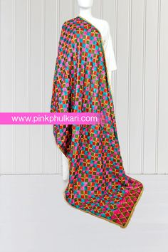 PinkPhulkari California Phulkari Vintage Hand Embroidered Bagh Phulkari Dupatta. To shop Visit our website www.pinkphulkari.com Images copyrights@PinkPhulkari California All rights reserved. Scarfs, Shawl, Dresses With Sleeves, California, Website, Long Sleeve, Shopping, Vintage, Fashion