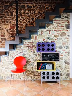 Modular furniture design, wine bottle rack and bookcase by Cool Art.