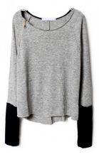 Pull gris clair avec zip