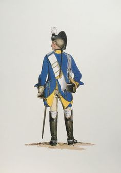 SOLDIERS- Menzel: SYW- Prussia: Prussian 11th Dragoons, Dragoon(Rear view) c.1750, by Adolph Menzel.