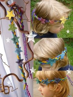 Hairbands - Magical Rainbow Stars Crown - a unique product by Mei -., Hairbands - Magical Rainbow Stars Crown - a unique product by Mei-Lynn on DaWanda. Felt Diy, Felt Crafts, Crafts To Make, Waldorf Crafts, Waldorf Toys, Waldorf Kindergarten, Fabric Crown, Wet Felting Projects, Felt Crown