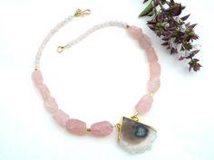 Rose Quartz big frosted nugget necklace. Unusual Rose Quartz necklace. Gemstone necklace with Stalactite Vermeil Double Loop Pendant