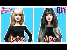 DIY - How to: Ombre Gray Hair Barbie Doll - Dip Dye Permanently Hair Tutorial - Making Kids Toys - YouTube