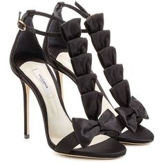 Olgana Paris La Delicate 10 Satin Sandals ($415) ❤ liked on Polyvore featuring shoes, sandals, heels, black, black ankle strap sandals, satin sandals, ankle strap shoes, bow sandals and ankle strap sandals