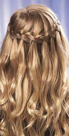 Gorgeous long wedding hair in a waterfall braid. If you're hair just ...
