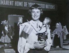 Ingrid Bergman with Swedish doll, 1948