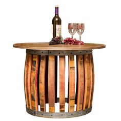 Stave and Hoop Coffee Table combines staves and wine barrel hoops to create a fantastic dimensional look of distinction. Top is solid solid reclaimed distressed wood. Wine Barrel Coffee Table, Rustic Coffee Tables, Round Coffee Table, Living Room Furniture, Home Furniture, Barrel Projects, Diy Projects, Wine Barrel Furniture, Palette