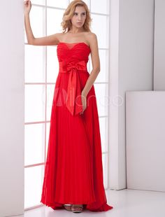 6d3c6db84f21 Bright Red Chiffon A-Line Special Occasion Formal Evening Dresses