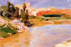 Learn more about Covachuelas, Toledo Joaquin Sorolla y Bastida - oil artwork, painted by one of the most celebrated masters in the history of art. Oil Canvas, Canvas Wall Art, Landscape Artwork, Abstract Landscape, Impressionist Paintings, Paintings I Love, Klimt, Illustrations, Art Images