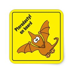 cool pterodactyl square sticker