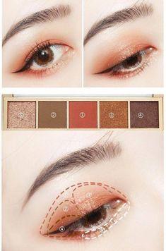 Pin by Hami Nguyen on Beauty in 2019 - make up - Makeup Korean Makeup Look, Asian Eye Makeup, Eye Makeup Steps, Korean Makeup Ulzzang, Korean Makeup Tips, Make Up Tutorials, Korean Makeup Tutorials, Ulzzang Makeup Tutorial, Beauty Make-up