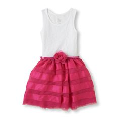 Fastened with a rosy belt, our mesh dress for her is beautiful for Valentine's Day! www.childrensexclusives.com