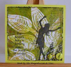 Alie Hoogenboezem-de Vries: Stamped card with a Gelli Plate background