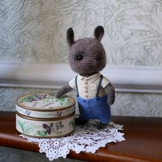 Little crochet brown bunny with shirt and shorts with от LozArts