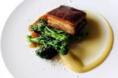 Pork belly with apple purée and sprouting broccoli