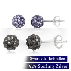 Twee setjes elegante oorstekers met Swarovski elementen in paars en grijs!